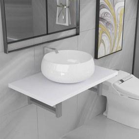 279343 vidaXL Set mobilier de baie, 2 piese, alb, ceramică