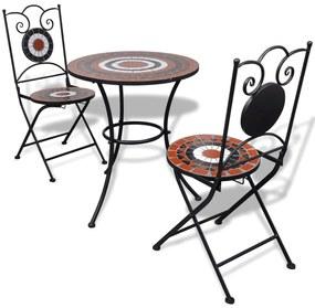 271773 vidaXL Set mobilier bistro, 3 piese, teracotă/alb, plăci ceramice