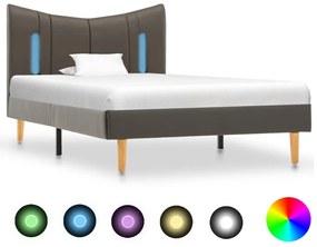 288544 vidaXL Cadru de pat cu LED, antracit, 100 x 200 cm, piele artificială