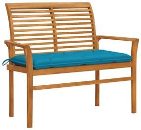3062668 vidaXL Bancă de grădină, pernă albastru deschis, 112 cm lemn masiv tec