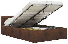 285566 vidaXL Cadru pat hidraulic cu ladă și LED, maro, 120 x 200 cm, textil
