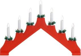 Sfeşnic de Crăciun Candle Bridge, roşu, 7 LED