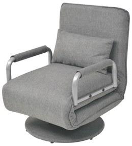 244666 vidaXL Scaun pivotant și canapea extensibilă, gri deschis, textil
