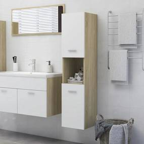 805002 vidaXL Dulap de baie, alb și stejar sonoma, 30x30x130 cm, PAL