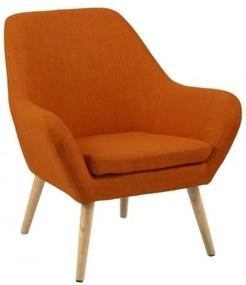 """Fotoliu tapitat cu stofa, cu picioare din lemn """"Astro"""" Orange, l76xA74xH84,5 cm"""