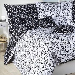 Lenjerie de pat creponată Veronika alb-negru lungime standard