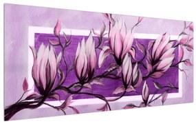 Tablou cu flori roz (120x50 cm), în 40 de alte dimensiuni noi