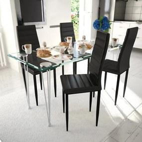 Set 4 scaune de culoare neagră și masă de sticlă