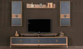 Set Comoda Tv cu 2 Corpuri si Raft - Retro