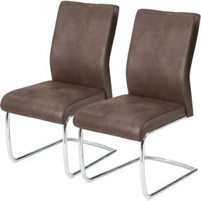 Set de 2 scaune Betiba microfibra/metal, maro inchis, 48 x 98 x 66 cm