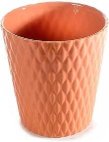 Ghiveci pentru flori ceramica portocaliu Ø 13 cm x 14 H