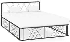 284597 vidaXL Cadru de pat, gri, 140 x 200 cm, metal
