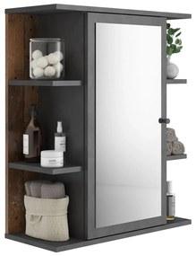 429458 FMD Dulap de baie cu oglindă, stil vechi Matera de culoare închisă