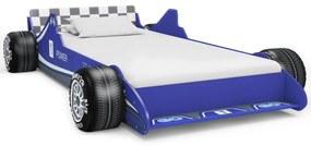 245661 vidaXL Pat pentru copii mașină de curse, albastru, 90 x 200 cm