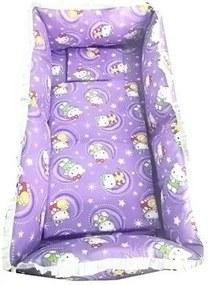 Croitoria Noastra - Lenjerie de patut bebelusi 120x60 cm 5 piese cu aparatori laterale Super groase CN Hello Kitty mov