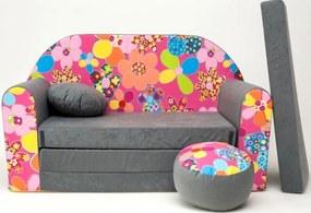 Canapea pentru copii - Flori colorate  A12 + Colors flowers II