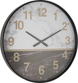 Ceas perete lemn alb negru cu rama metal neagra Ticking 60 cm x 6 h