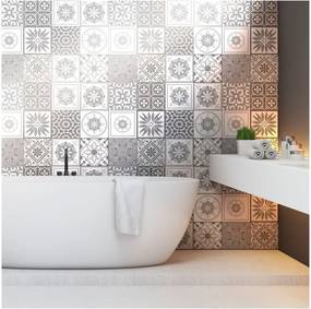 Set 12 autocolante pentru perete Ambiance Cement Tiles Shades of Gray Cordoba, 10 x 10 cm