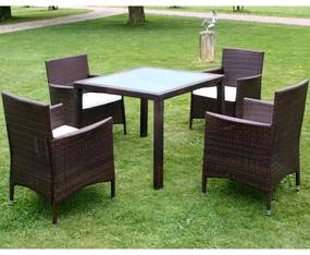 Set mobilier de exterior, 9 piese, poliratan, maro
