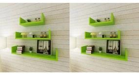 Rafturi de perete, 6 buc., verde