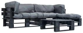 277426 vidaXL Set mobilier grădină din paleți cu perne gri, 4 piese, lemn