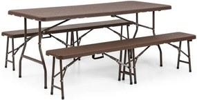 Blumfeldt BURGOS, set de mobilier de grădină, set din 3 bucăți, masă+două bănci,oțel, rabatabilă, maro