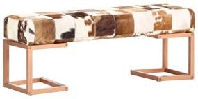 283752 vidaXL Bancă, maro, 110 cm, piele naturală de capră, model petice