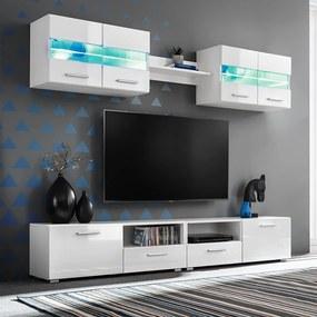 246027 vidaXL Set comodă TV de perete, 5 piese, lumini LED, alb lucios