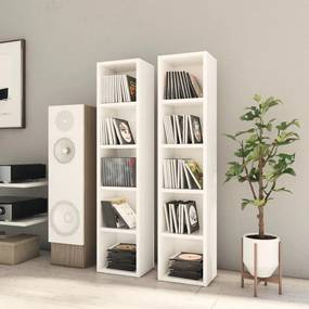 802702 vidaXL Dulapuri CD-uri, 2 buc. alb extralucios, 21 x 16 x 93,5 cm, PAL