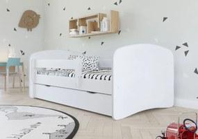 Pat pentru copii cu bariera Ourbaby - alb Loki 140x70 cm pat fără spațiu de depozitare