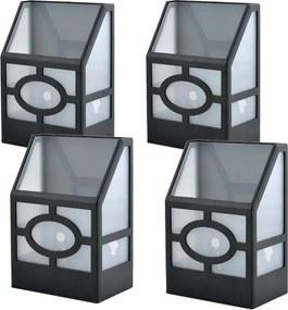 4 buc lampa solara de exterior, negru