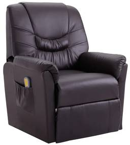 248983 vidaXL Fotoliu de masaj rabatabil, maro, piele ecologică
