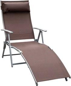 Outsunny Sezlong Prendisole Relax Rabatabil Pliabil Schelet in Metal 137x63.5x100.5cm Maro