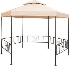 Pavilion marchiză de grădină, cort, hexagonal, 323x265 cm, bej