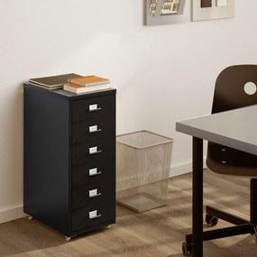 Comoda birou rollbox, cu 6 sertare, Metal, Negru 28x43x69 cm