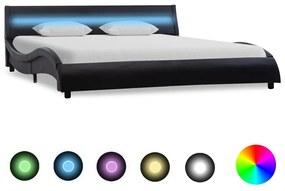 285668 vidaXL Cadru de pat cu LED, negru, 120 x 200 cm, piele ecologică