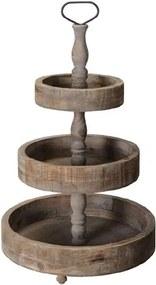 Platou etajat din lemn si metal maro 45x74 cm