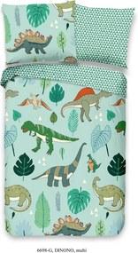 Lenjerie de pat din bumbac pentru copii Good Morning Dinosaurus, 100 x 135 cm