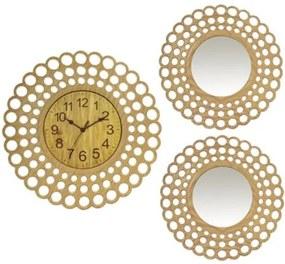 Set ceas de perete cu doua oglinzi ,GRUNBERG ,KLJ3074 , BEJ KLJ3074