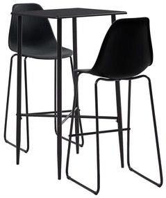 279921 vidaXL Set mobilier de bar, 3 piese, negru, plastic