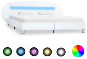 285434 vidaXL Cadru de pat cu LED, alb, 120 x 200 cm, piele ecologică