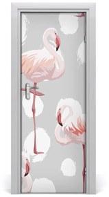 Autocolante pentru usi Flamingos și puncte