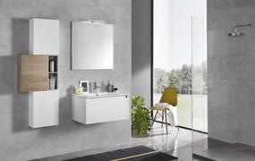 Set mobilier pentru baie 8 piese PERTH, Melamina Aluminiu Abs Sticla Ceramica Metal, Alb Maro deschis, 131x46.5x190 cm