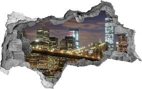 Autocolant de perete gaură 3D Podul brooklyn