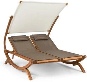 Blumfeldt SONNEDECK, șezlong dublu, copertină solară reglabilă, tetieră, culoare albă