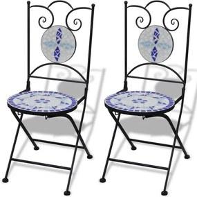 Set de 2 scaune din mozaic, culoare albastru și alb
