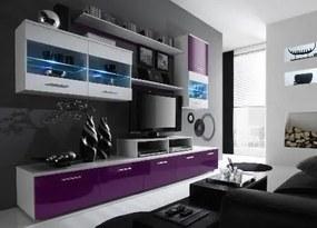 Set mobila living Logo II, alb cu violet lucios, 250x42x190 cm lxAxh