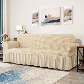 Husă pentru canapea Seersucker, crem, 178 x 107 cm