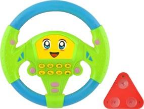 Jucarie Volan pentru Copii Multicolor cu 8 Taste de Redare Sunete Auto, Fixare cu Ventuze