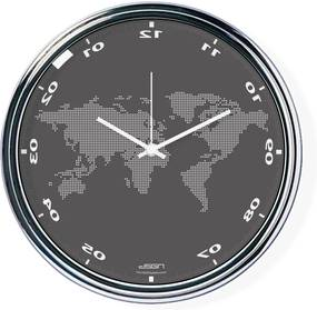 Ceas invers cu o hartă mondială - gri închis, diametru 32 cm | DSGN